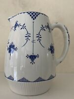 """FURNIVALS DENMARK BLUE AND WHITE  PITCHER  6 1/4"""" HEIGHT - MADE IN ENGLAND"""