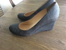 8c7378f39296 Pre-Owned - Christian Louboutin Charcoal Grey Gray Cork Wedges US 9 1