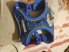 New listing Pup Crew Pro Reflex Trainer Nylon Reflective Step in Dual Clip Dog Harness, Blue