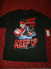 MARIO BROTHERS BLACK T SHIRT TRY TO KEEP UP