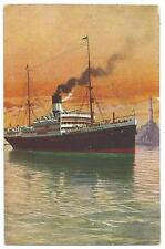 """SHIPPING / ITALY - N.G.I. Genoa """"S.S. TAORMINA"""" Postcard"""