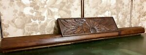 Decorative flower wood carving pediment Antique french architectural salvage