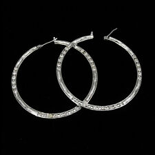 """2"""" 18K W Gold Plated Wedding Party Earrings Hoop Lady Costume Jewel CZ Clear 402"""