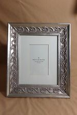 """Pottery Barn Vine Matted Picture Frame Silver Wooden 11""""x 13"""" Holds 4""""x 6"""" Photo"""