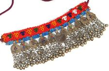Old Choker Boho Handmade Afghan Coin Banjara Glass Bead Tribal Gypsy Necklace