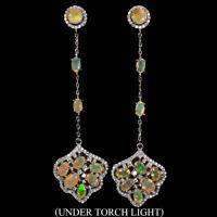 Unheated Oval Fire Opal Rainbow Full Flash 6x4mm Cz 925 Sterling Silver Earrings
