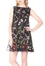 Tahari 7220M347 Black Lime Flame Embroidered Floral Shift Dress - $148