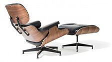 Classic Lounge Chair and Ottoman PU Leather Walnut Plywood