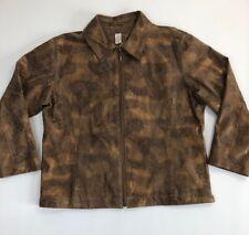Chico's Womens SZ 2 Snake Skin Print Zip Leather Jacket Brown Gold Metallic 2292