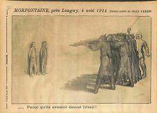 Morfontaine Longwy Martyre Deutsches Heer Dessin de Jean Veber WWI 1914