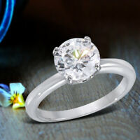 Round Cut Diamond Solitaire Engagement Ring 14K White Gold Finish