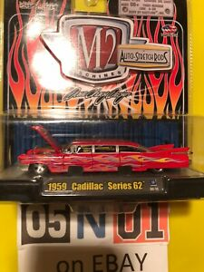 M2 MACHINES AUTO STRETCH RODS 1959 CADILLAC SERIES 62 LIMOUSINE RED 1:64 SCALE