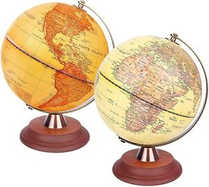 Exerz World Globe 20cm Antique Globe Wooden Stand - 2 in 1 Light up LED Lamp