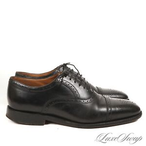 ESSENTIAL Churchs England Custom Grade Black Leather Perforated Cap Toe Shoes 95