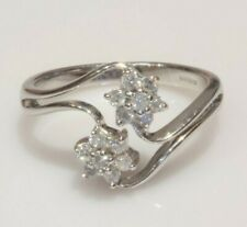 9ct White Gold Diamond Flower Cluster Ring 0.30ct