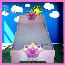 Toddler Bed Frame Furniture Kids Childs Girls Wood Princess Headboard Design New