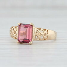 1.50ct Pink Tourmaline Ring 14k Yellow Gold Emerald Cut Solitaire