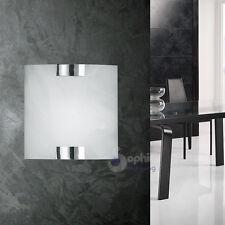 Applique lampada parete plafoniera design moderno acciaio cromo vetro bagno