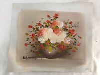 Mid Century Impressionist Original Art Oil Painting Roses Signed BELONIKA Shabby