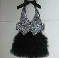 Girl Children Kids Dance Latin Performance Jazz Sequins tops vest Skirt Dress