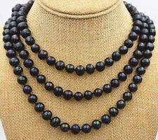 "New 6-7mm Black real akoya Tahiti Cultured Pearl Necklace 50"" Aa+"