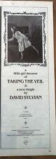 DAVID SYLVIAN (JAPAN) Taking The Veil magazine ADVERT / Poster 11x4 inches