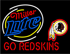 "New Miller Lite Washington Redskins Beer Neon Light Sign 24""x20"""