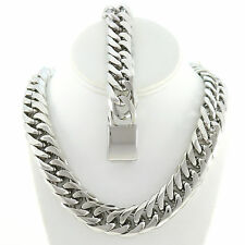 MIAMI CUBAN LINK SOLID STAINLESS STEEL SILVER FINISH THICK CHAIN & BRACELET 21MM