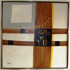 Brent Oil or Acrylic Painting on Canvas Abstract Brown Yellow with Wheels