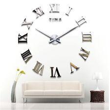 DIY 3D Grand Autocollant Horloge Murale Art Romains Miroir Salle Bureau Déco FRX