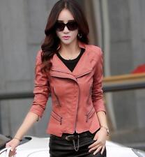 hot Spring Jacket Women Leather Motorcycle Jacket Zip Jacket Ladies Short Coat