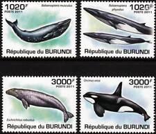 WHALES (Blue/Finback/Grey/Killer Whale) Marine Life Stamp Set (2011 Burundi)