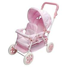 Badger Basket Double Doll Stroller - Pink & White Gingham