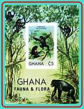 GHANA 1982 ANIMALS S/S SC#788 MNH IMPERF nonDENTELE APES, PRIMATES, MONKEY