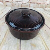 """Vtg Pottery Made in USA Stoneware Bowl & lid dark brown 8.25"""""""