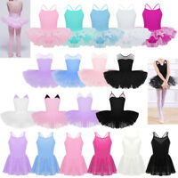 Toddler Girls Gymnastics Leotard Dress Kids Ballet Tutu Skirt Dancewear Costume