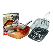 NEW Copper Chef 5 Piece 9.5 Inch Square Deep Fry Pan Set Lid Cookware TV