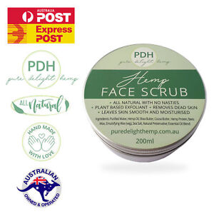 Moisturising Hemp Face & Body Scrub Exfoliant Hemp Oil, Shea Butter Cocoa Butter