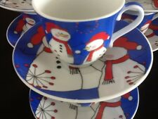3 oz Espresso Coffee Cup.12 pc Cup and Saucer Set #511 Holiday Christmas Theme