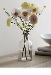 Next Artificial Poppies In Glass Bottle/decorative flowers Glass Vase New Home