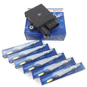 6x BOSCH Glühkerze + 1x Glühsteuergerät für BMW E60 525d 530d E46 E90 330d M57TÜ