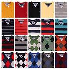 NWT Tommy Hilfiger Men's V Neck Argyle Stripe Solid Sweater S,M,L,XL