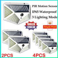 100LED Solar Power Light PIR Motion Sensor Outdoor Garden Security Wall Lamps`