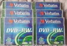 6x Nuovo di Zecca SIGILLATA VERBATIM DVD-RW 4.7 GB