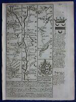 LICHFIELD, RUGELEY, NANTWICH, CHESTER original antique road map, Bowen, 1759