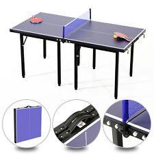 HOMCOM Mesa Ping Pong Plegable 153x76.5x67cm + Red Tenis Mesa Exterior Portatil