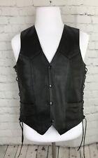 Vtg First Manufacturing - Men's Motorcycle Black Leather Side Lace Vest size 46