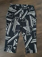 Black & White Trousers size 26 uk abstract pattern half elasticated waist new