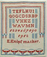 ANTIKES STICKMUSTERTUCH KREUZSTICH VON 1912 42 x 36 cm von  E. Knöpfmacher fein