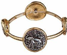 NWT INSPIRATIONAL GOLD & SILVER GOOD LUCK ELEPHANT MEDALLIONS STRETCH BRACELET